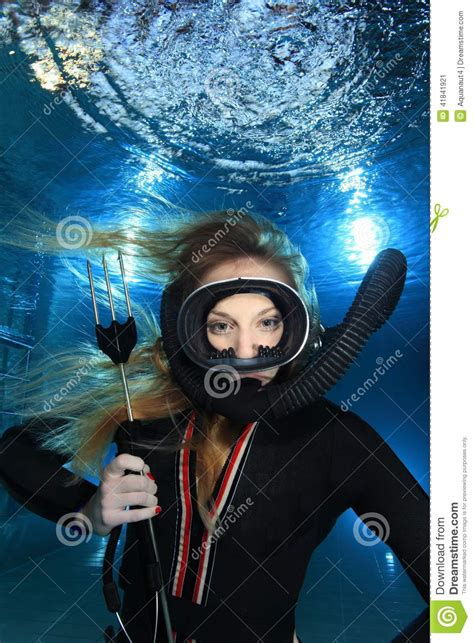 vintage scuba woman stock photo image
