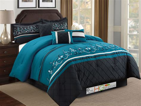 Teal Bedding by 7 Pc Floral Damask Embroidery Comforter Set King