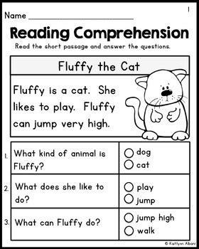 theme quiz ereading kindergarten reading comprehension passages set 1
