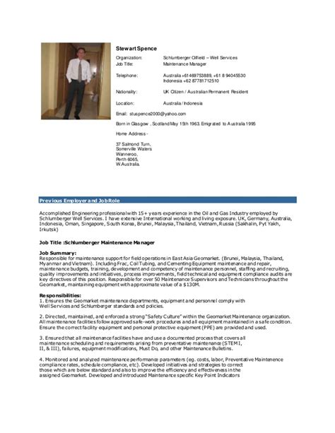 Oilfield Resume Examples by Stewart Spence Maintenance Manager Cv 2015