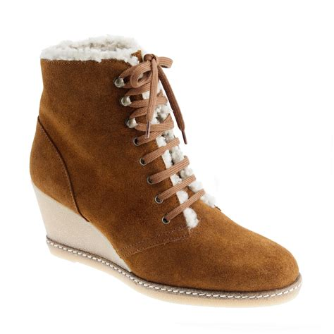 macalister shearling wedge boots j crew