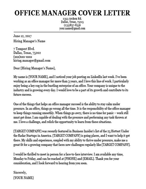 Office Manager Cover Letter by Office Manager Cover Letter Sle Resume Companion