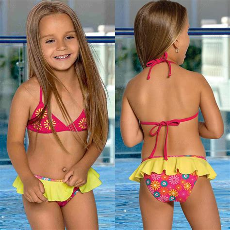 little girl models ages 11 l 38 bikini m 228 dchen kinder badeanzug gelb rosa blumen age