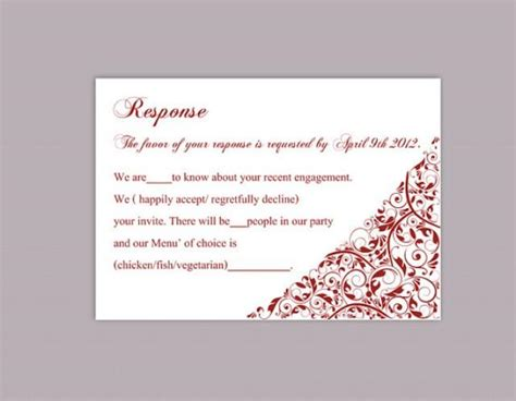 wedding response card template diy wedding rsvp template editable text word file