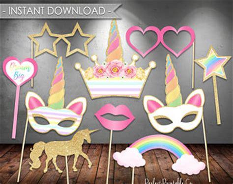 printable unicorn photo booth props printable mask etsy