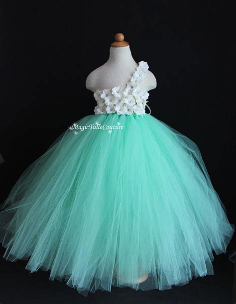 Dress Tutu Flower Green Pink mint green aqua flower tutu dress wedding dress tulle