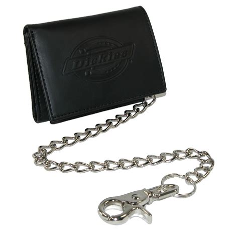 mens leather trifold chain wallet by dickies chain