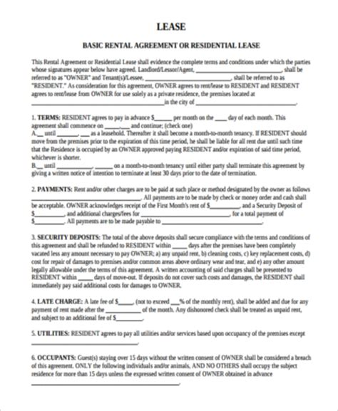 Apartment Rental Agreement Sles 8 Free Documents In Word Pdf Simple Apartment Lease Agreement Template