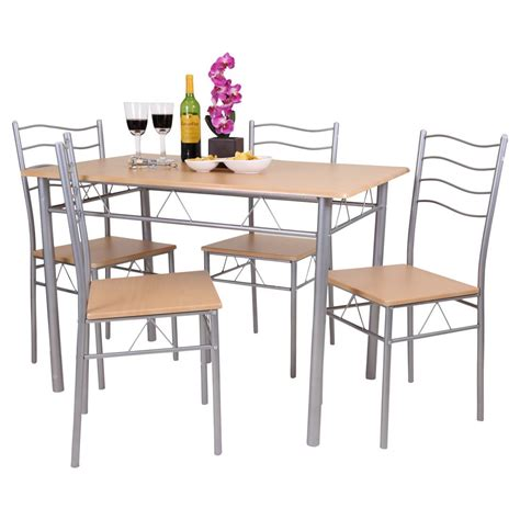 Metal Kitchen Tables And Chairs Florida 5 Dining Table And 4 Chair Set Breakfast Kitchen Wooden Metal Ebay