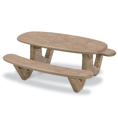 6 oval concrete picnic table with polished finish