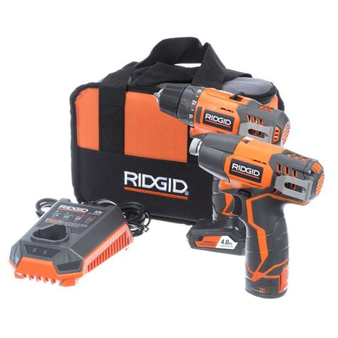 ridgid 12 volt hyper lithium ion drill driver and impact driver combo kit r9000k the home depot