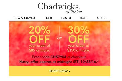 chadwick coupons codes