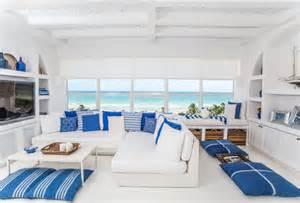 Greek inspired condo beach style family room