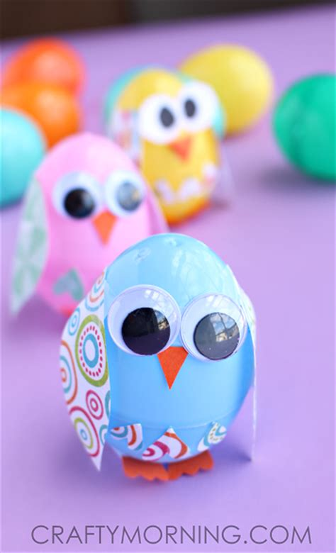 egg crafts plastic easter egg owl craft for crafty morning