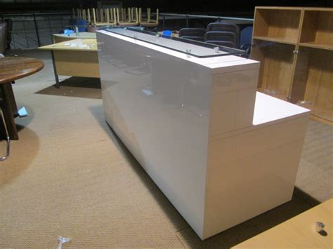 Used Office Reception Desk White Gloss Reception Desk New Used Office Furniture Glasgow Scotland