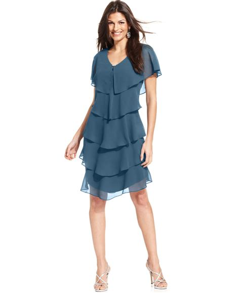 Tiered Dress lyst patra sleeve tiered dress in blue
