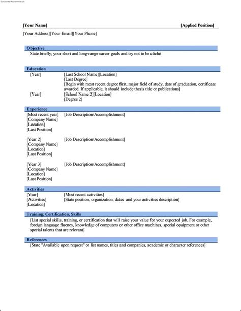 Work Resume Template Word by Work Resume Template Microsoft Word Free Sles