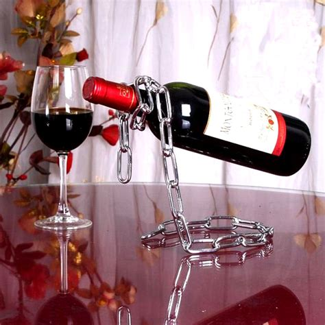Creative Suspension Chain Wine Rack Rak Rantai Anggur creative suspension chain wine rack rak rantai anggur silver jakartanotebook