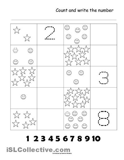 printable counting 1 10 worksheets 4 best images of printable assessment worksheets numbers 1