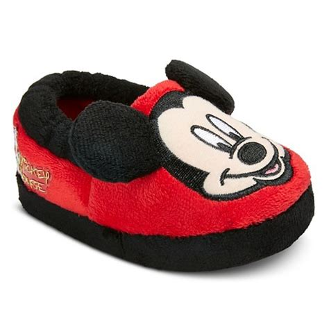 mickey mouse house shoes boy s mickey mouse slippers red black target