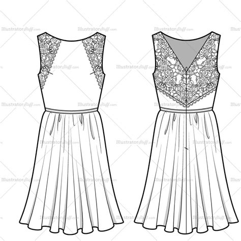 dress template for adobe illustrator women s lace dress fashion flat template illustrator stuff