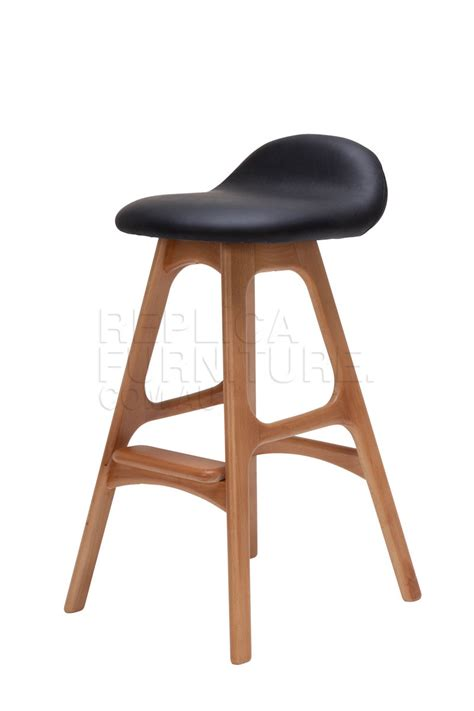 Replica Bar Stools by Replica Erik Buch Bar Stool 66cm In Black Leather And