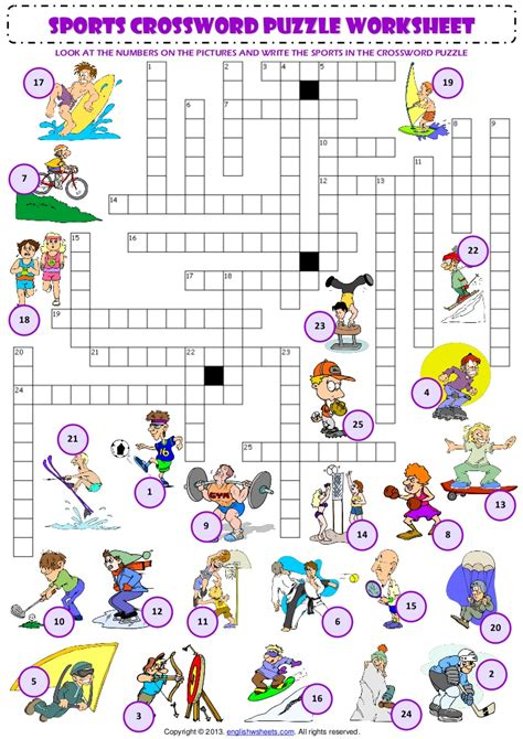 sports vocabulary criss cross crossword puzzle worksheet