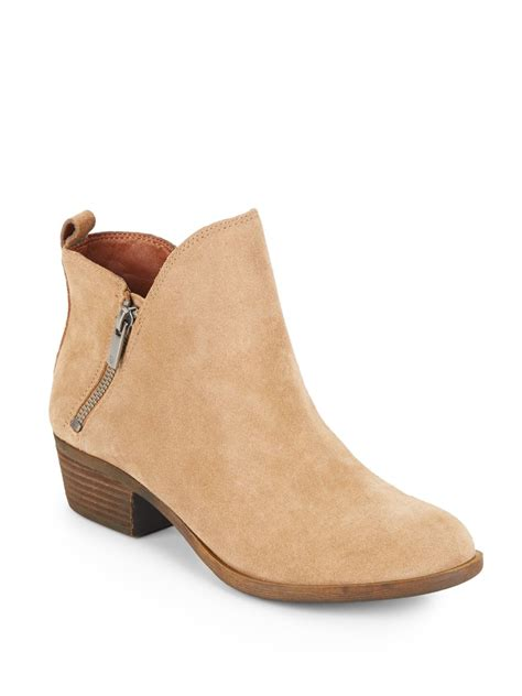 brand boots for lyst lucky brand basonta suede ankle boots in brown