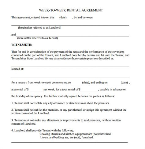 9 Blank Rental Agreements To Download For Free Sle Templates Free Blank Lease Agreement Template