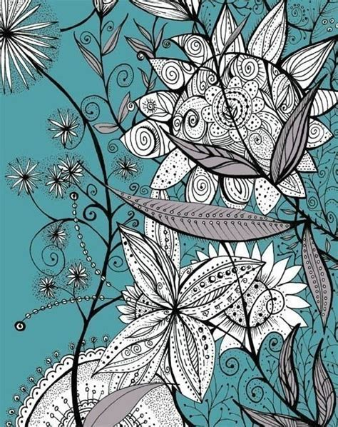 printable zentangle flowers modern flower art print turquoise black and white by