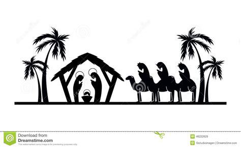 imagenes de siluetas del nacimiento de jesus dise 241 o del pesebre ilustraci 243 n del vector imagen 46222629