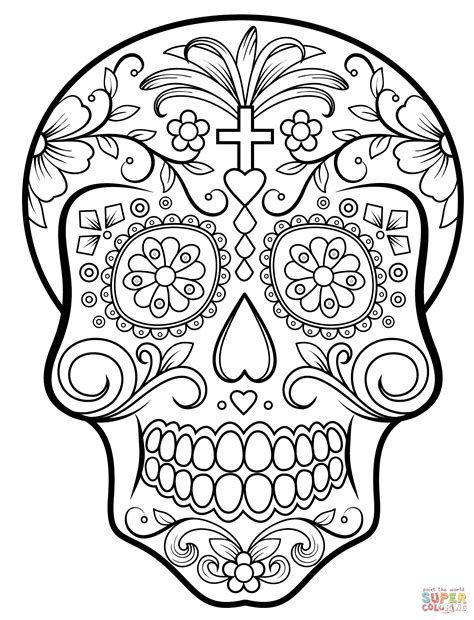 skull coloring sheets sugar skull coloring pages bestofcoloring