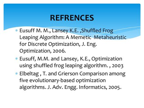 Applications Of Metaheuristic Optimization Algorithms In Civil Eng optimization shuffled frog leaping algorithm
