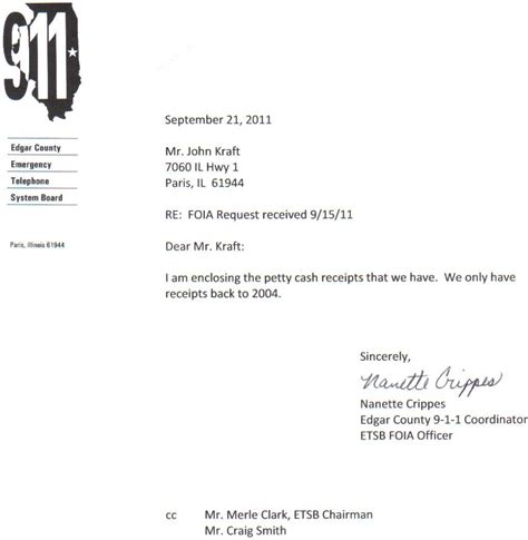 Advance Petty Request Letter 911 Another Shocking Revelation Illinois Leaks