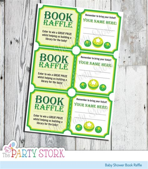 printable raffle ticket books baby shower book raffle tickets green for girl or boy