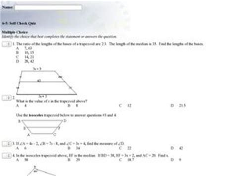 trapezoid and kites worksheet trapezoids and kites choice 9th 12th grade worksheet lesson planet