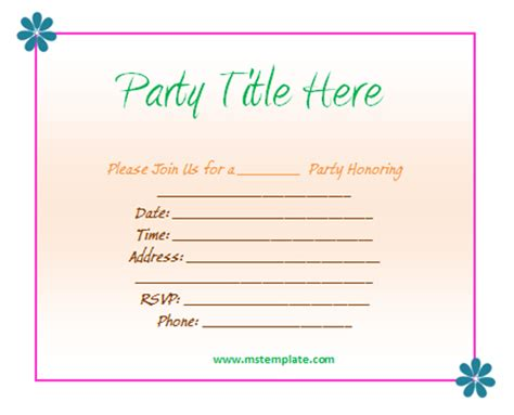 microsoft office templates free party invitation templates