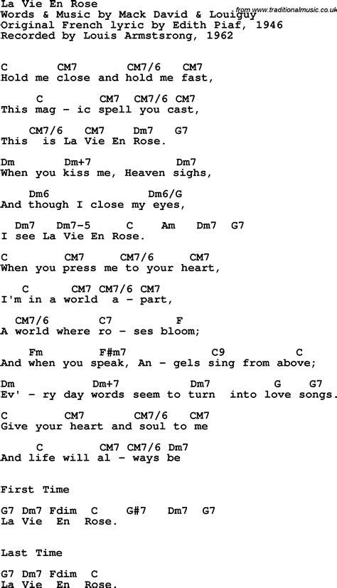tutorial piano la vie en rose song lyrics with guitar chords for la vie en rose louis