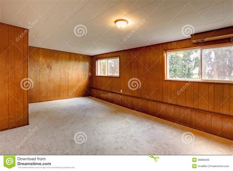 Red Wood Panel Walls Empty Room Stock Photo   Image: 36868400
