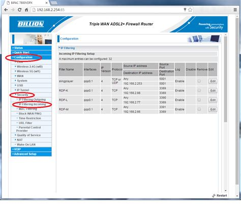 port of remote desktop loza s port forward remote desktop on billion 7800vdpx