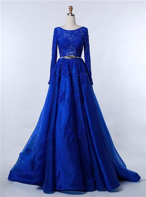 Longdress Serena Blue Df modest bateau neckline sleeve royal blue organza lace beaded prom dress with belt