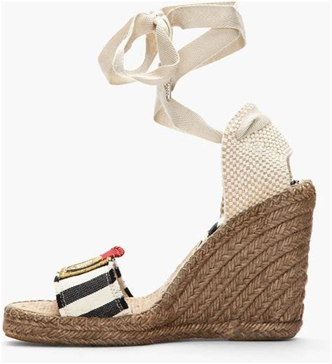 Erotokritos Blue And White Stripe Wedge by Marc Striped Espadrille Wedge Sandals In Blue Navy