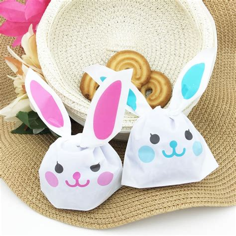 Rabbit Ear Cookie Bag 20pcs lot 10 18cm rabbit ear cookie bags self adhesive plastic bags for biscuits snack