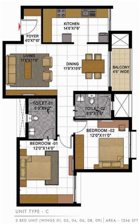 casa bella floor plan 1246 sq ft 2 bhk 2t apartment for sale in prestige group
