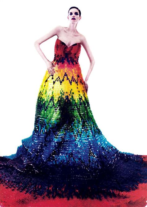 modern dress design alexander mcqueen inspired dress made of 50 000 gummy