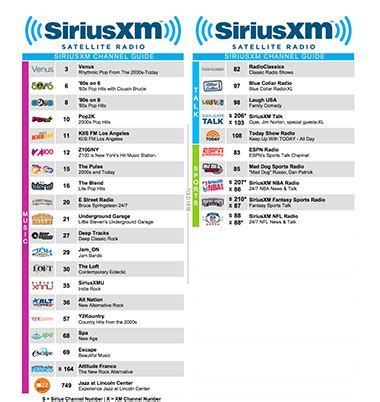 Xm Radio Guide Printable