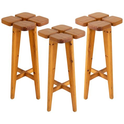 Solid Pine Bar Stools by Set Of Three Bar Stools By Johansson Pape In Solid