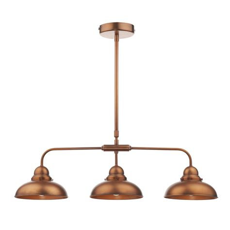 Retro Style Copper Ceiling Bar Pendant 3 Light Double Copper Ceiling Lights