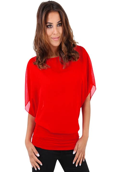 2 In 1 Blouse Kancing Batwing 8367 womens chiffon oversized 2 in 1 batwing blouse tank top uk 8 22 ebay