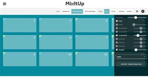 javascript based layout mixitup animated filtering and sorting css javascript